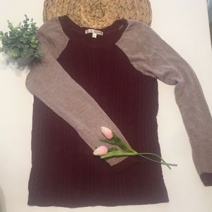 A Maroon and White Scooped Neck Sweater